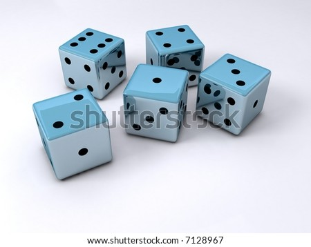 Five dice cubes on white surface - stock photo