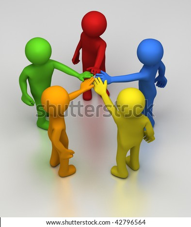 Five different coloured 3D rendered figures in a circle join hands at the center as sign or teamwork and cooperation