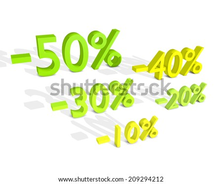 Five different percentage sale for shopping. - stock photo