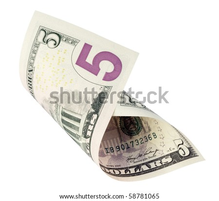 five dollar banknote,isolated on white with clipping path.