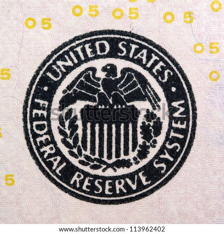 five dollar bill federal reserve system sign - stock photo
