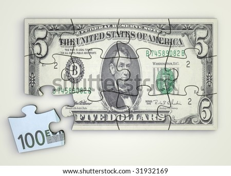 five dollar note as a puzzle - one piece separately - extra Euro piece - stock photo