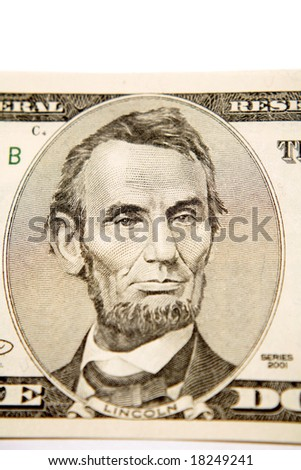 Five dollar note detail - stock photo