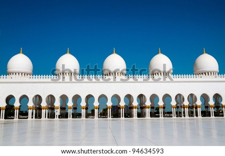 five domes of Sheikh Zayed Mosque in Abu Dhabi - stock photo