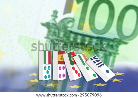 Five dominoes of EU countries that seem to have financial problem, stand upright in front of Euro (EUR) 100 notes - stock photo