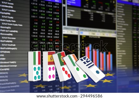 Five dominoes of EU countries that seem to have financial problem, stand upright in front of the display of financial instruments for stock market quantitative analysis including short financial page. - stock photo