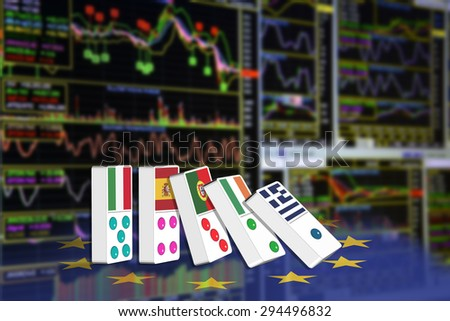 Five dominoes of EU countries that seem to have financial problem, stand upright in front of the display of financial instruments with various type of indicators for stock market technical analysis. - stock photo