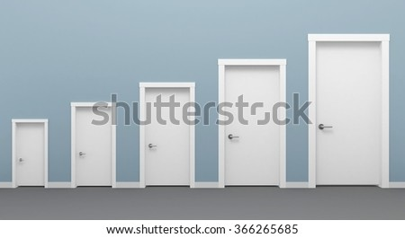 Five doors white. Four doors in different colors. 3d illustration Four doors in different & Five Doors White Four Doors Different Stock Illustration 366265685 ...