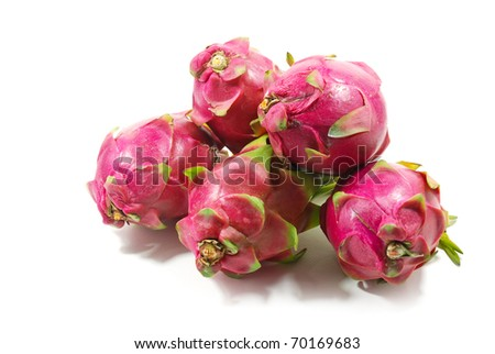 Five Dragon fruit isolate on the white background