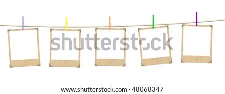 Five empty blanks of photo - stock photo