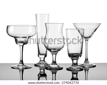 Five empty cocktail glasses  - stock photo