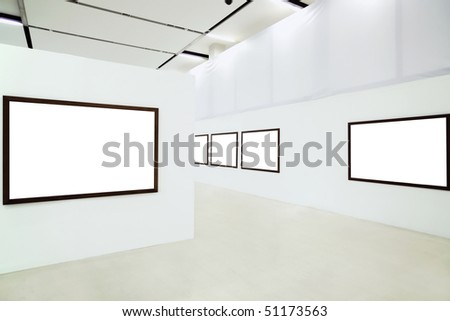 Five empty frames in the museum - stock photo