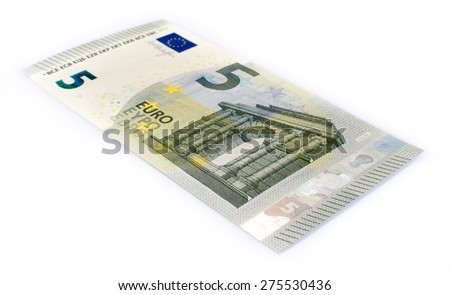 Five euro banknote, isolated on white