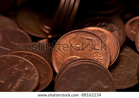 Five euro cents coins background - stock photo