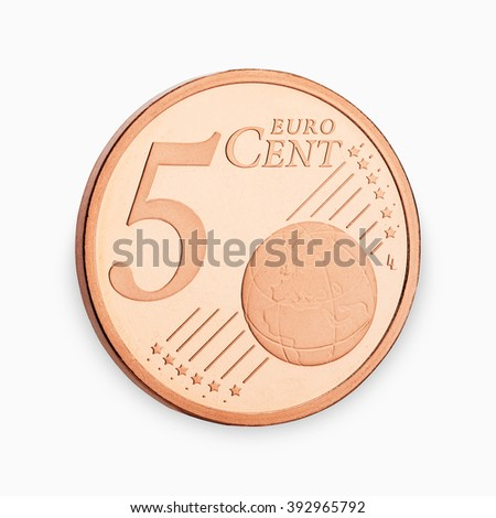 five euro coin cent isolated on white background - stock photo
