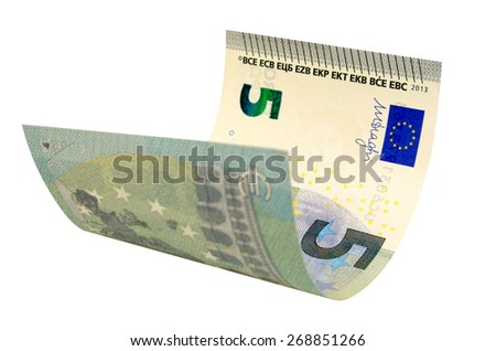Five euros banknote isolated on white background contours saved.