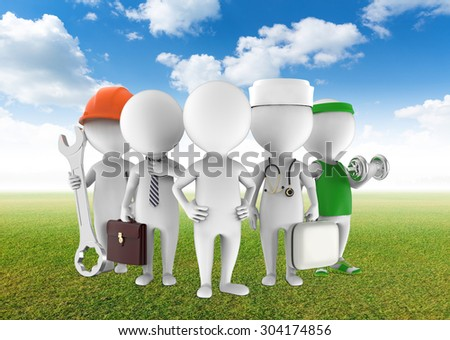 Five figures of man on nature background - stock photo