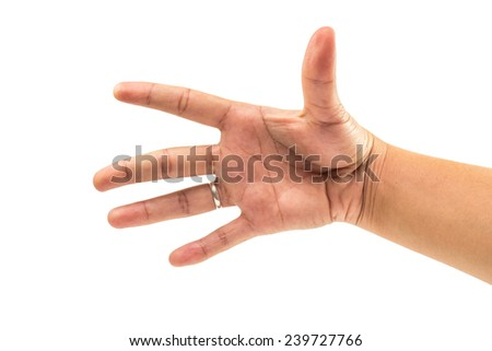 five finger and hand count number five on isolated white background