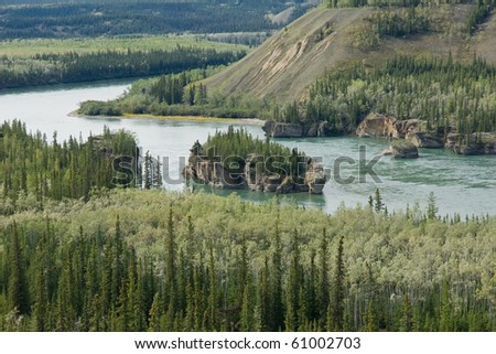 Five finger rapids on the Yukon River - stock photo
