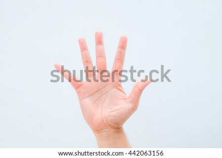 five finger stop sign,Man hand sign isolated on white background. Man's hand. Man hand sign isolated on white background. - stock photo