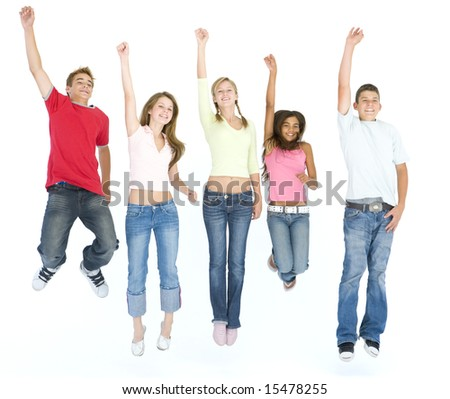Five friends jumping and smiling