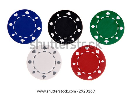 Five gambling chips each different color