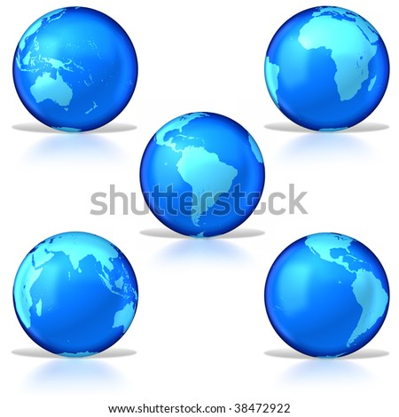 Five glassy earths staggared on white background. Clipping path included. Texture courtesy of NASA.