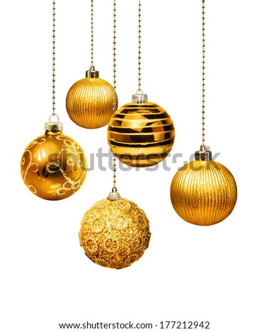 Five gold decoration Christmas balls hanging isolated - stock photo