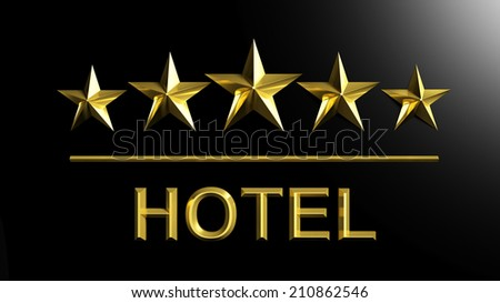 Five golden stars and word Hotel isolated on black - stock photo