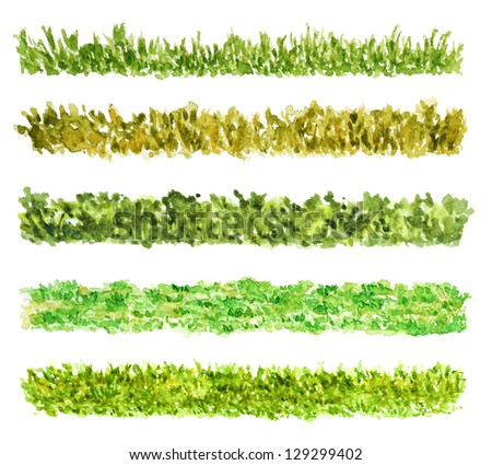 Five Grass Border Pieces Watercolor Hand Drawn and Painted, Isolated on White