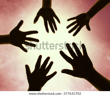Five hands symbol of union touch white light - stock photo