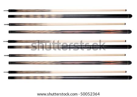 Five high-quality billiard cue - stock photo