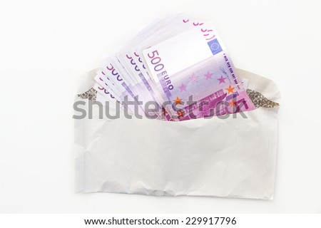 Five hundert euro bank notes in a envelope - stock photo