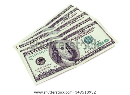 Five hundred dollars isolated on white background. - stock photo
