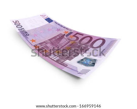 five hundred euro banknote. Isolated on white background - stock photo