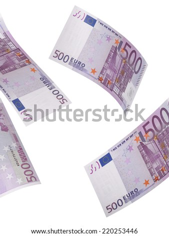 Five hundred euro bill collage isolated on white. Vertical format