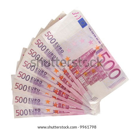 Five hundred euro notes isolated over white background - stock photo