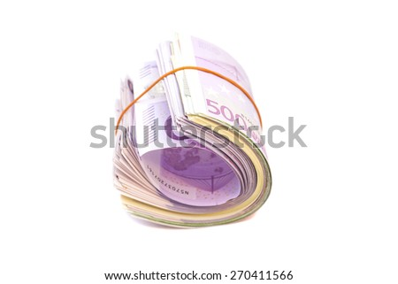 Five hundredth banknotes under rubber band isolated - stock photo