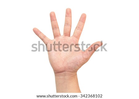Five-inch vertical white palm as a symbol of the hand or number five. The prohibition or denial Conveys the emotion of anger