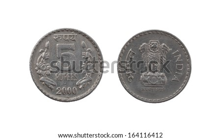 Five Indian Rupee coin isolated on white background - stock photo