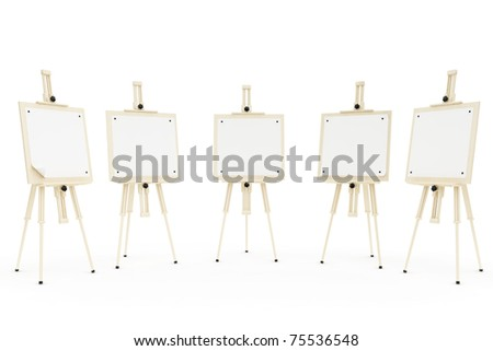 five  isolated easels  on the white background - stock photo