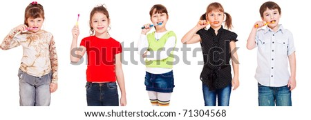 Five kids cleaning teeth, over white - stock photo