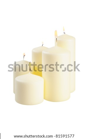 Five large lighted candle. Isolated on white. - stock photo