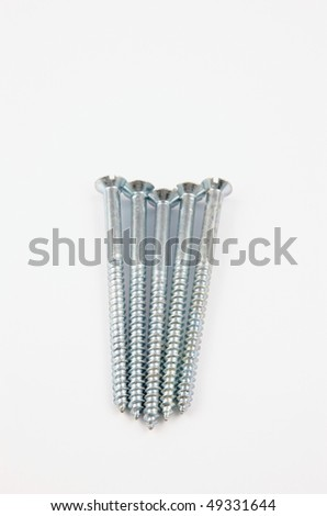 Five long silver screws on a white background - stock photo