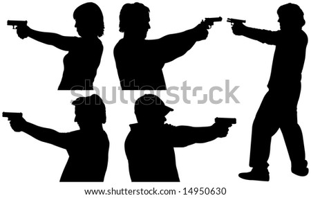 Five Male and Female Gun Shooting Silhouettes