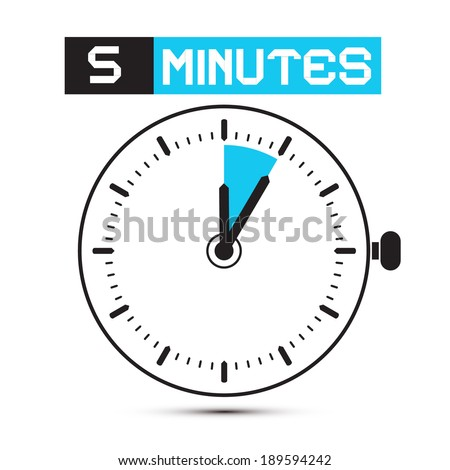 Five Minutes Stop Watch - Clock Illustration - stock photo