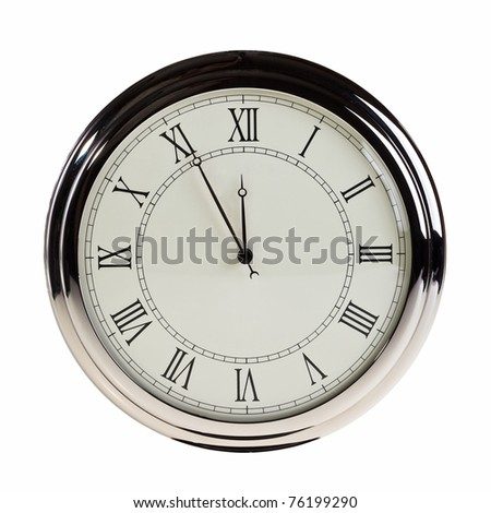 Five minutes to midnight on retro watch isolated over white background. - stock photo