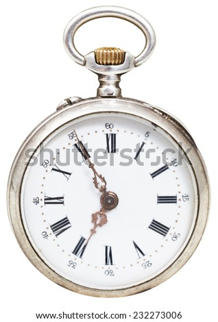 five minutes to seven o'clock on the dial of retro pocket watch isolated on white background - stock photo