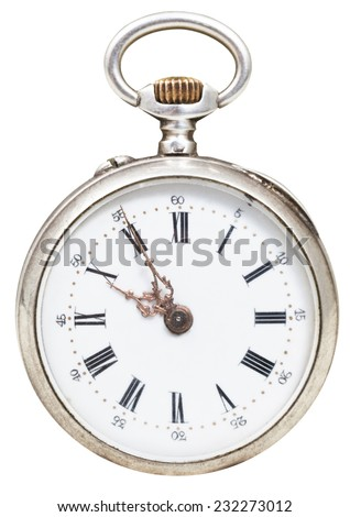 five minutes to ten o'clock on the dial of retro pocket watch isolated on white background - stock photo