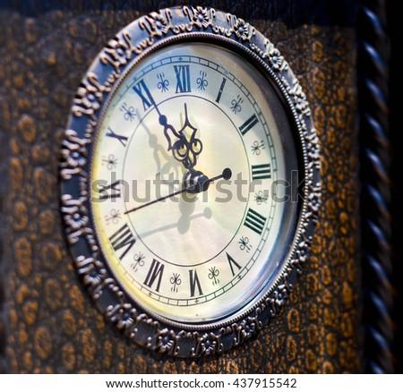 Five minutes until twelve o'clock. Time limit concept. Time for change concept. - stock photo